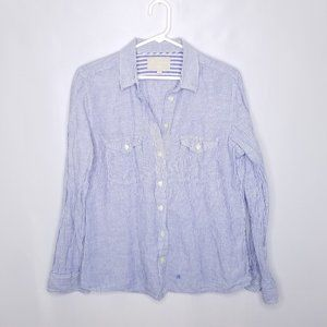{Banana Republic} Blue Striped Linen Blend Top L